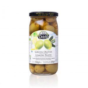 Оливки фаршированные пастой из лимона в рассоле 350г
