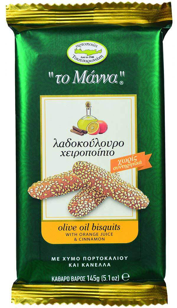 Печенье с оливковым маслом, апельсиновым соком и корицей MANNA 145г