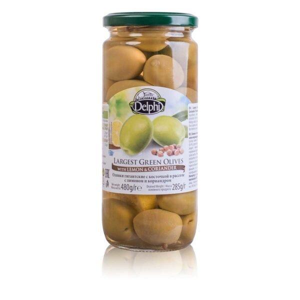Оливки с косточкой с лимоном и кориандром 480г