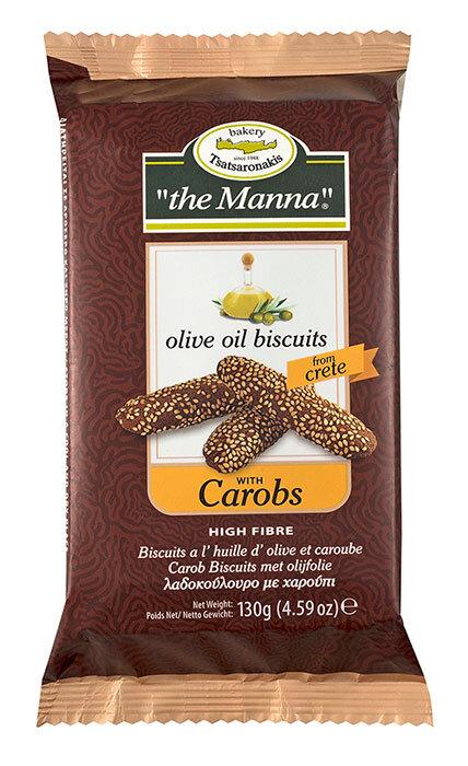 Печенье с оливковым маслом и кэробом MANNA 130г