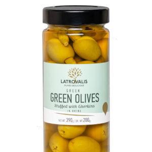Оливки фаршированные огурчиком в рассоле 390г