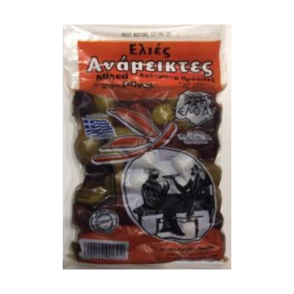 Оливки с косточками Микс Eltha 250г. Зеленые и Каламата в одной упаковке
